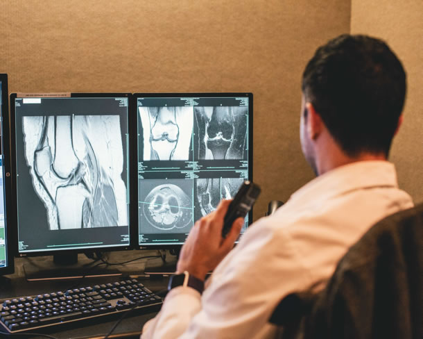 Radiologist reading an image